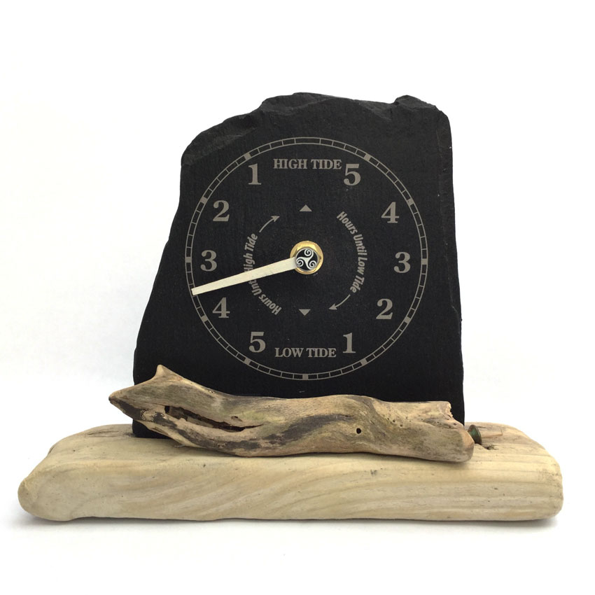 handmade slate and driftwood tide clock