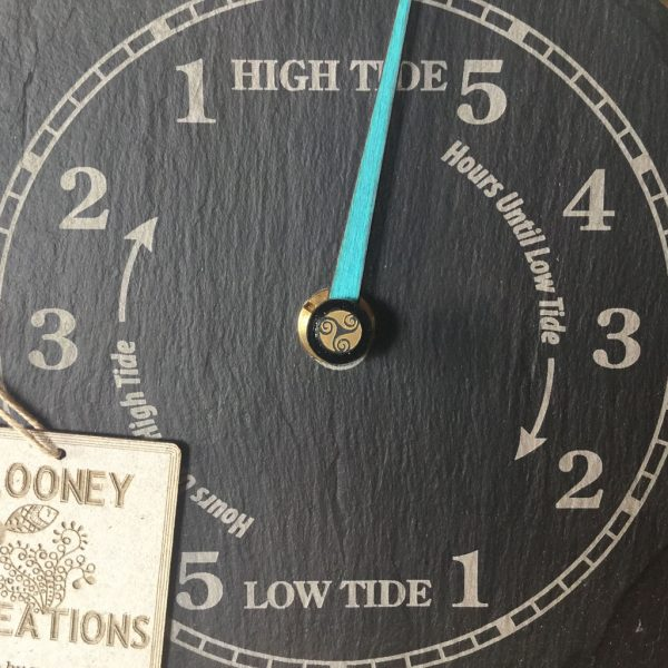 Handmade driftwood and slate tide clock