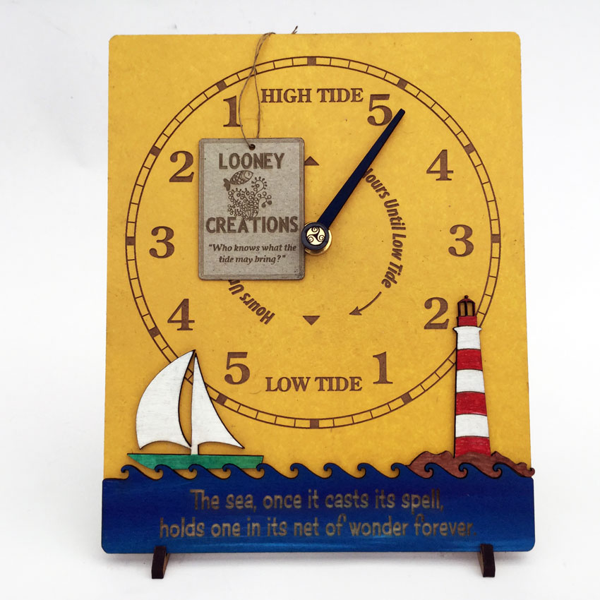 Sailboat and Lighthouse Tide clock front