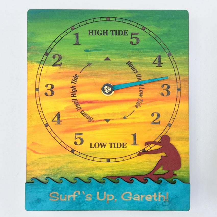 Surfs Up Tide Clock Sunset